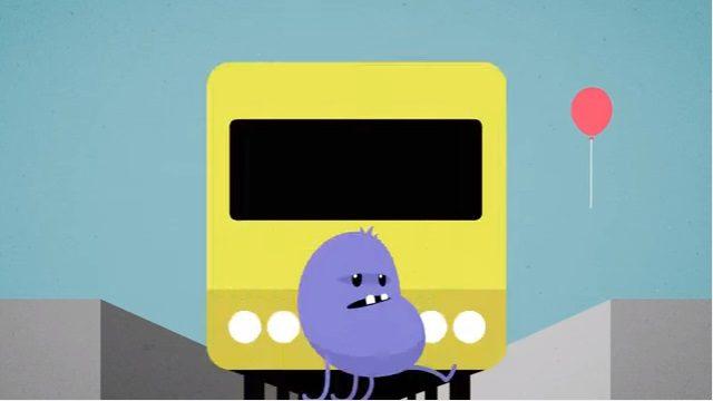 電車が来ているホームに降りてしまったキャラクター